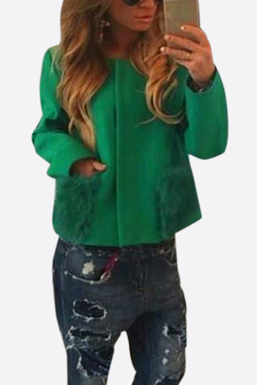 Green Loose Fit Short Outerwear with Fur Pockets Design