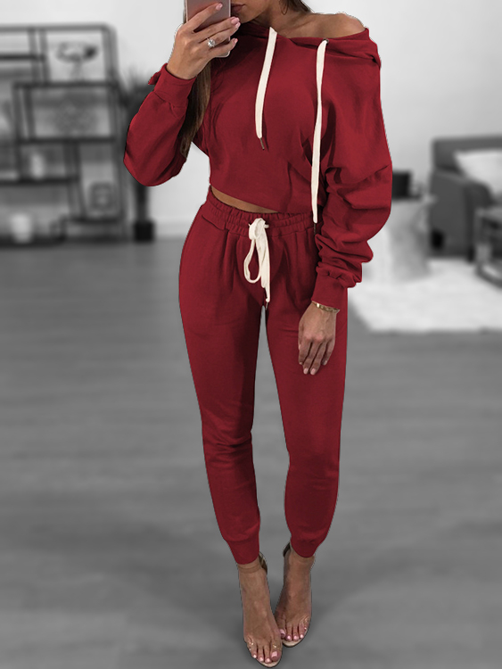 Burgundy Hooded Drawstring Sweatshirt Two Piece Outfits burgundy hooded drawstring sweatshirt two piece outfits
