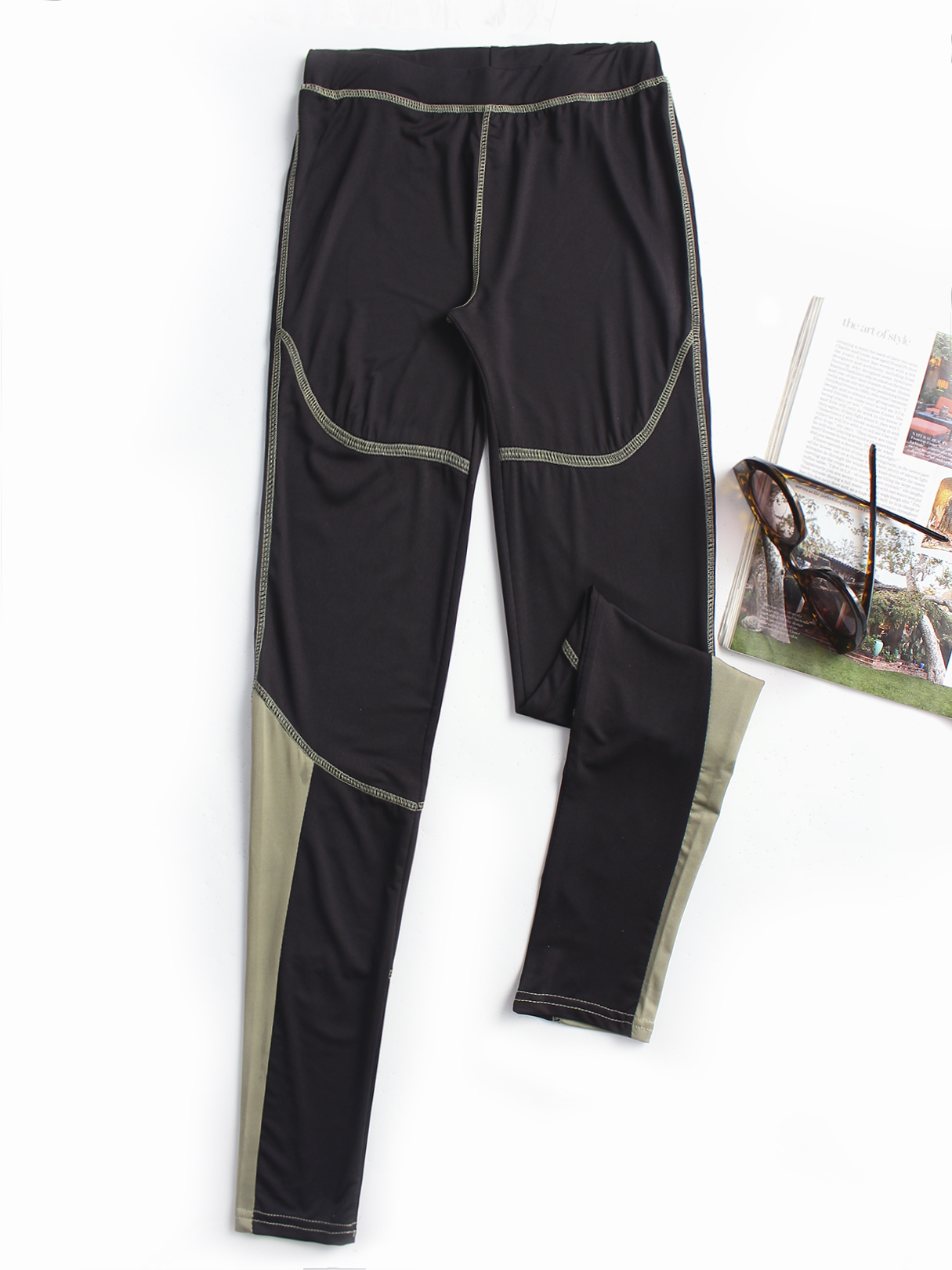 Black Active Contrast Color Quick Drying Gym Leggings active yarn net stitching design gym leggings in black