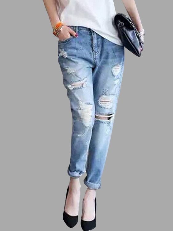 Ripped Details Boyfriend Jeans with High-waist SKU468182