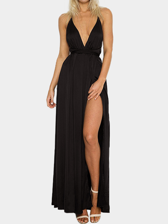 Black Backless Design Deep V Neck Party Dress it s a party dress короткое платье