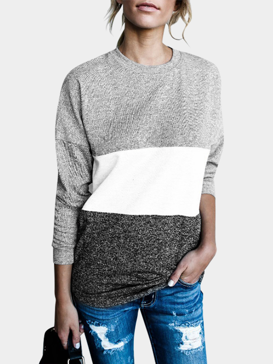 Grey Stripe Stitching Round neck Long Sleeves Casual T-shirt green stripe color stitching round neck long sleeves t shirt