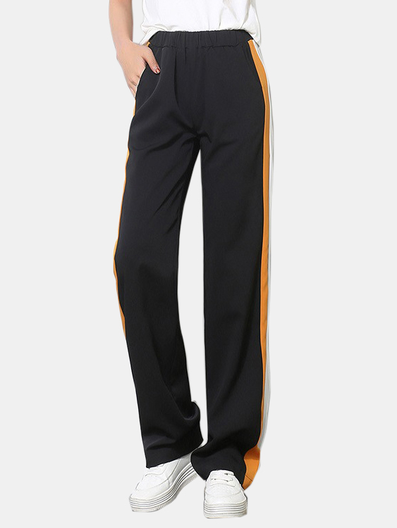 Active Contrast Color Stitching High Waisted Pants in Yellow active contrast color high waisted velvet pants in black