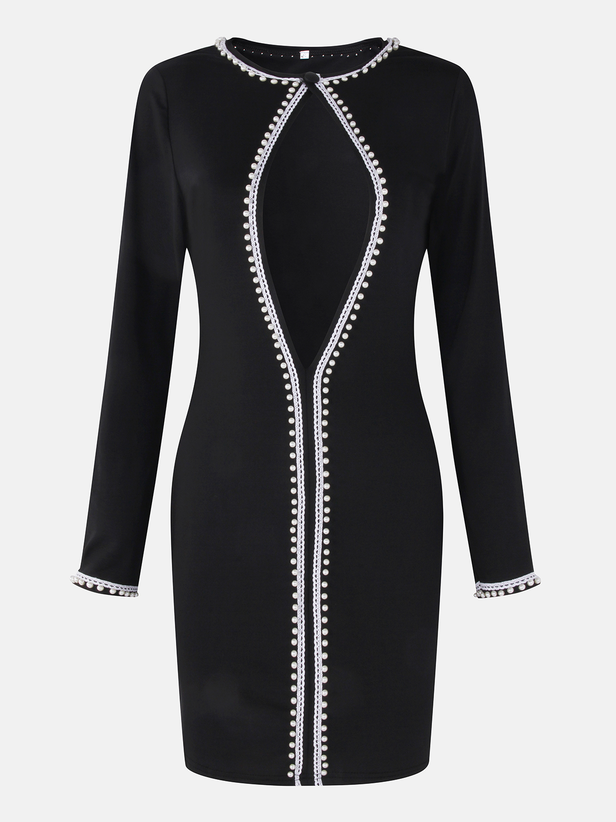 все цены на Black Sexy Cut Out Front Round Neck Long Sleeves Mini Dress