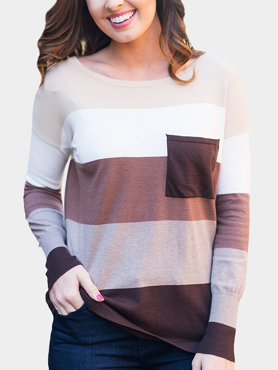 Brown Stripe Color-stitching Round Neck Long Sleeves T-shirt green stripe color stitching round neck long sleeves t shirt