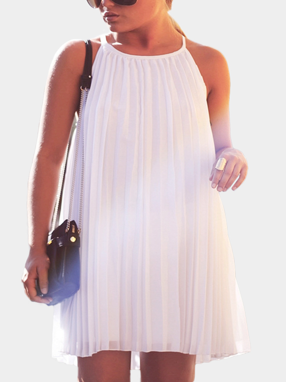 White Sleeveless Pleated Design Mini Dress