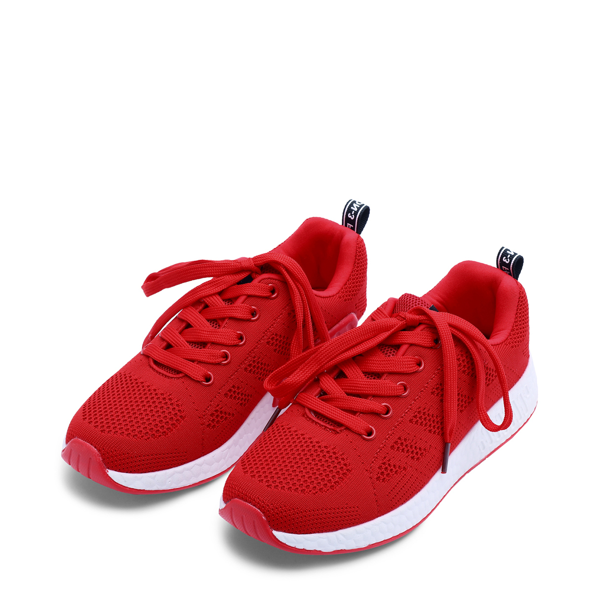 Red Casual Mesh Round Toe Lace-up Sneakers