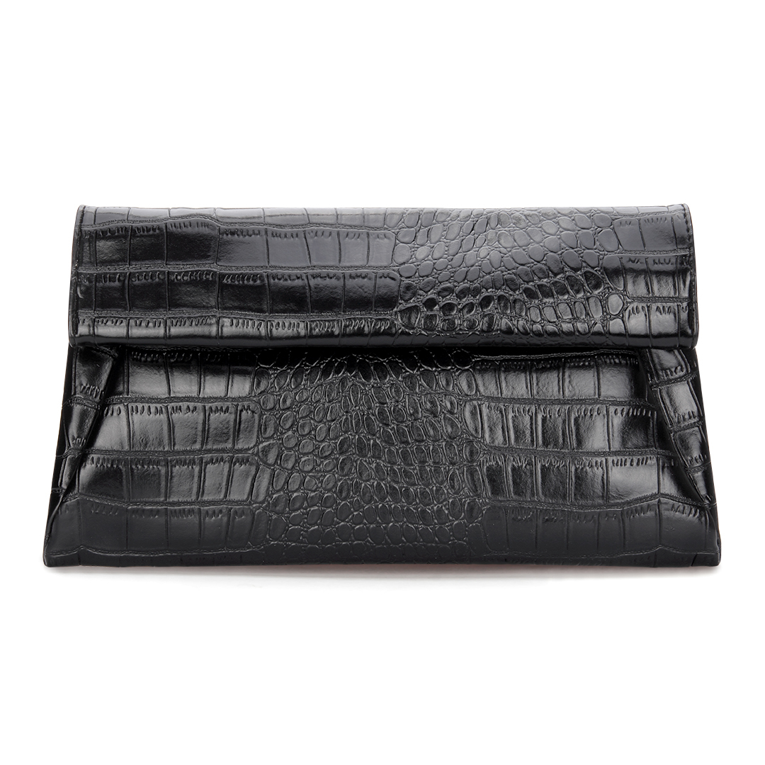 Leather-look Croc Embossed Fold Over Clutch Bag in Black