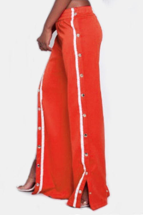 Active High Side Slit Rivet Design Wide Leg Sport High Waist Pants in Red