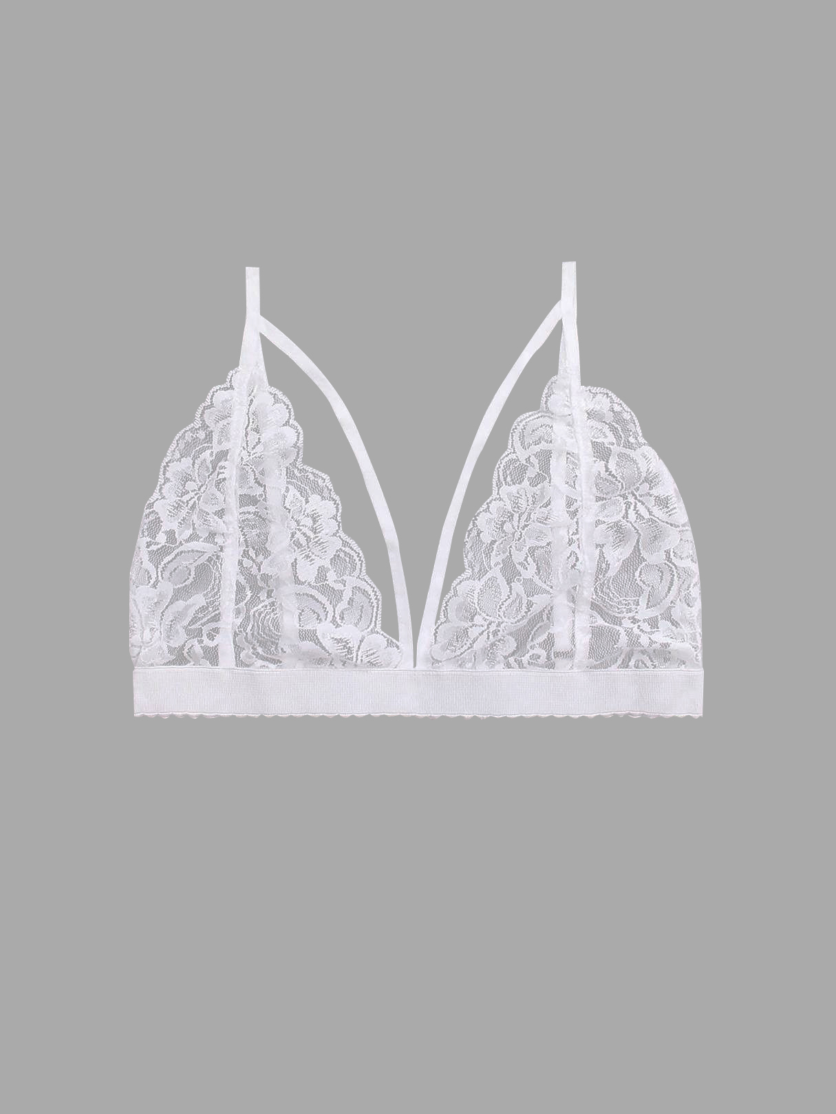 White Sexy Lace Details Lingerie with No Falsies sexy white lace hem lingerie with no falsies