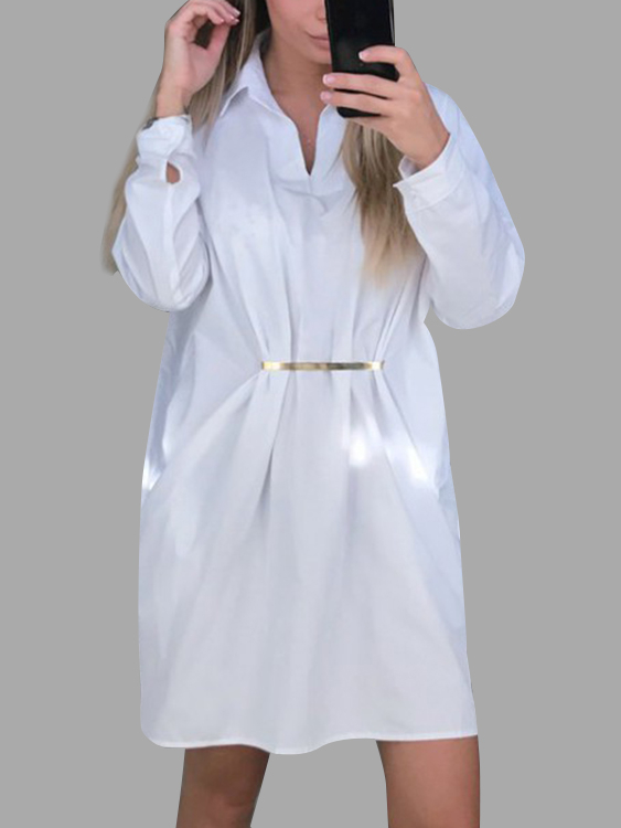 White Classic Collar Long Sleeves Shirt Dresses