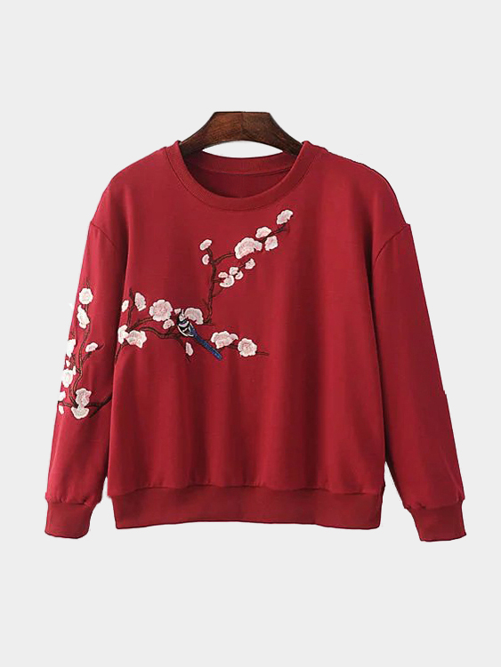 Burgundy Pullover Random Floral Embroidery Pattern Sweatshirt pink casual embroidery floral pattern sweatshirt