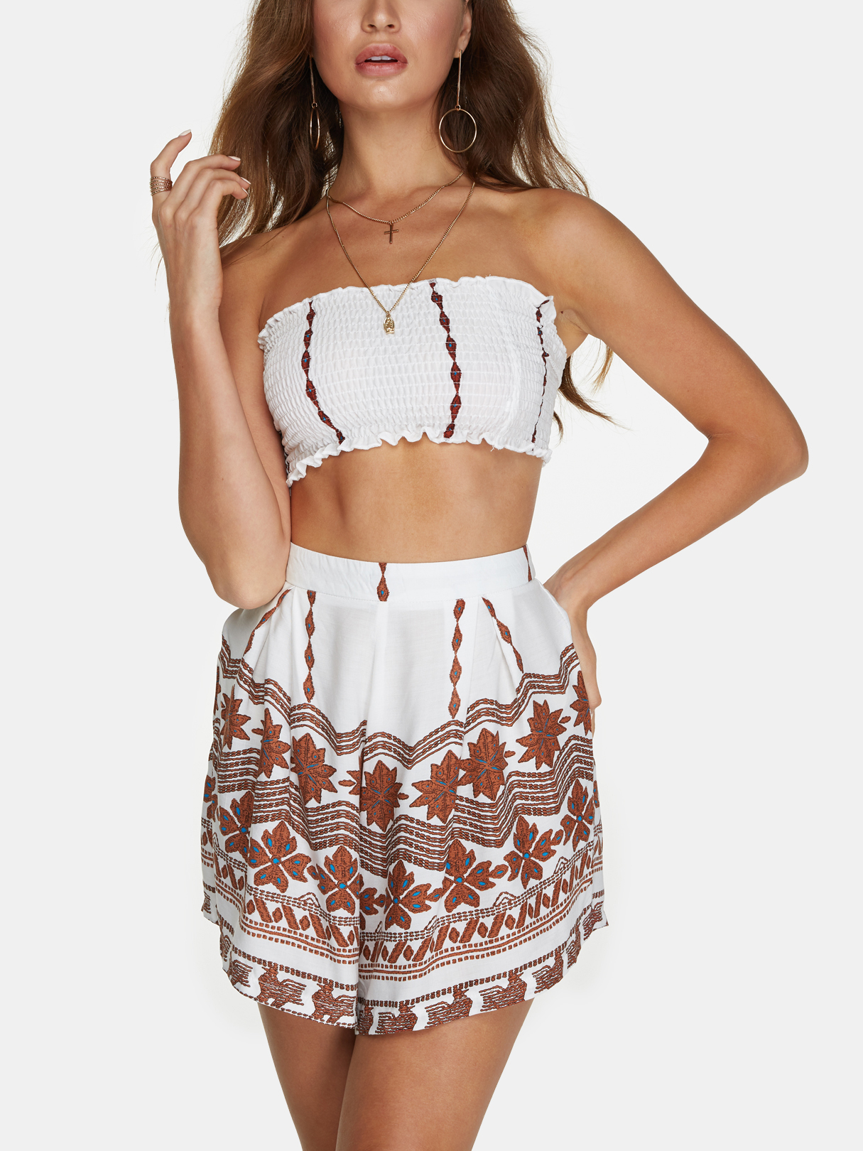 White Tube Top And Floral Print Pleated Hem Skirt Co-ord flower print box pleated skirt