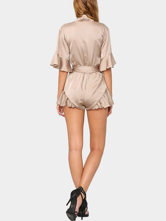 Фото Khaki V-neck Playsuit with 1/2 Length Sleeves. Купить в РФ