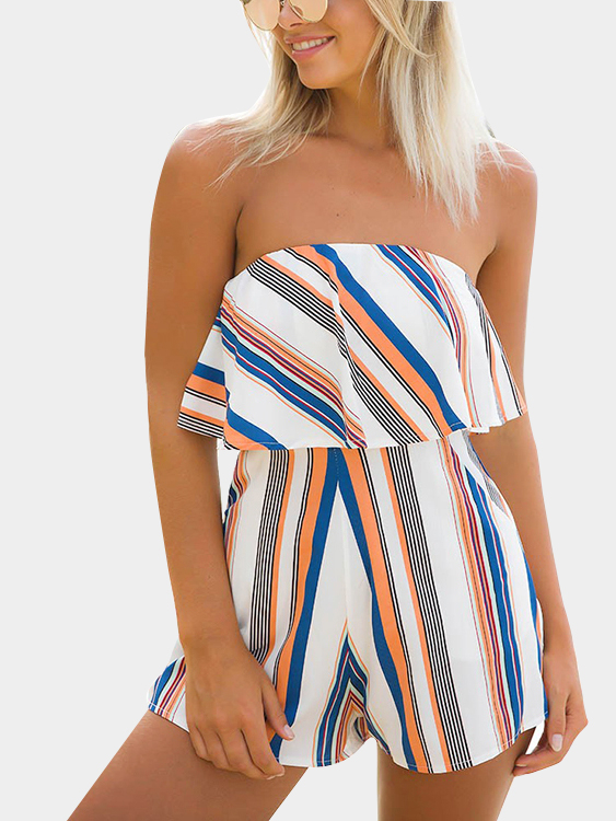 Sexy Striped Scallop Tube-top Strapless Playsuit