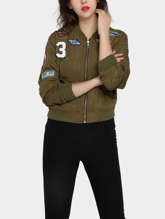 Army Green Jacket With Badge army green fashion long sleeved jacket