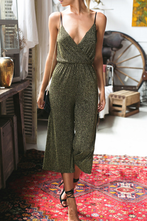 High Waist V-neck Loose Jumpsuit