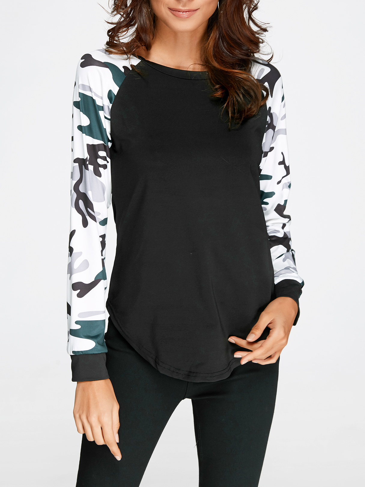 Black Camouflage Round Neck Long Sleeves T-shirt black stripe round neck long sleeves drawstring waist active suit