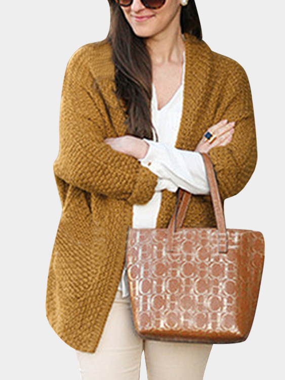 Fashion Two Pockets Loose Cardigan