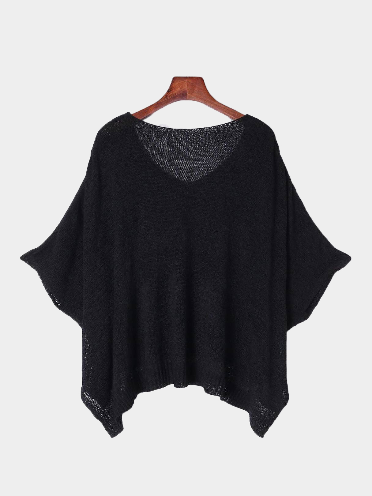 Black Rips Details Irregular Hem Loose Sweaters geometrical pattern cape loose sweater with taeesl details