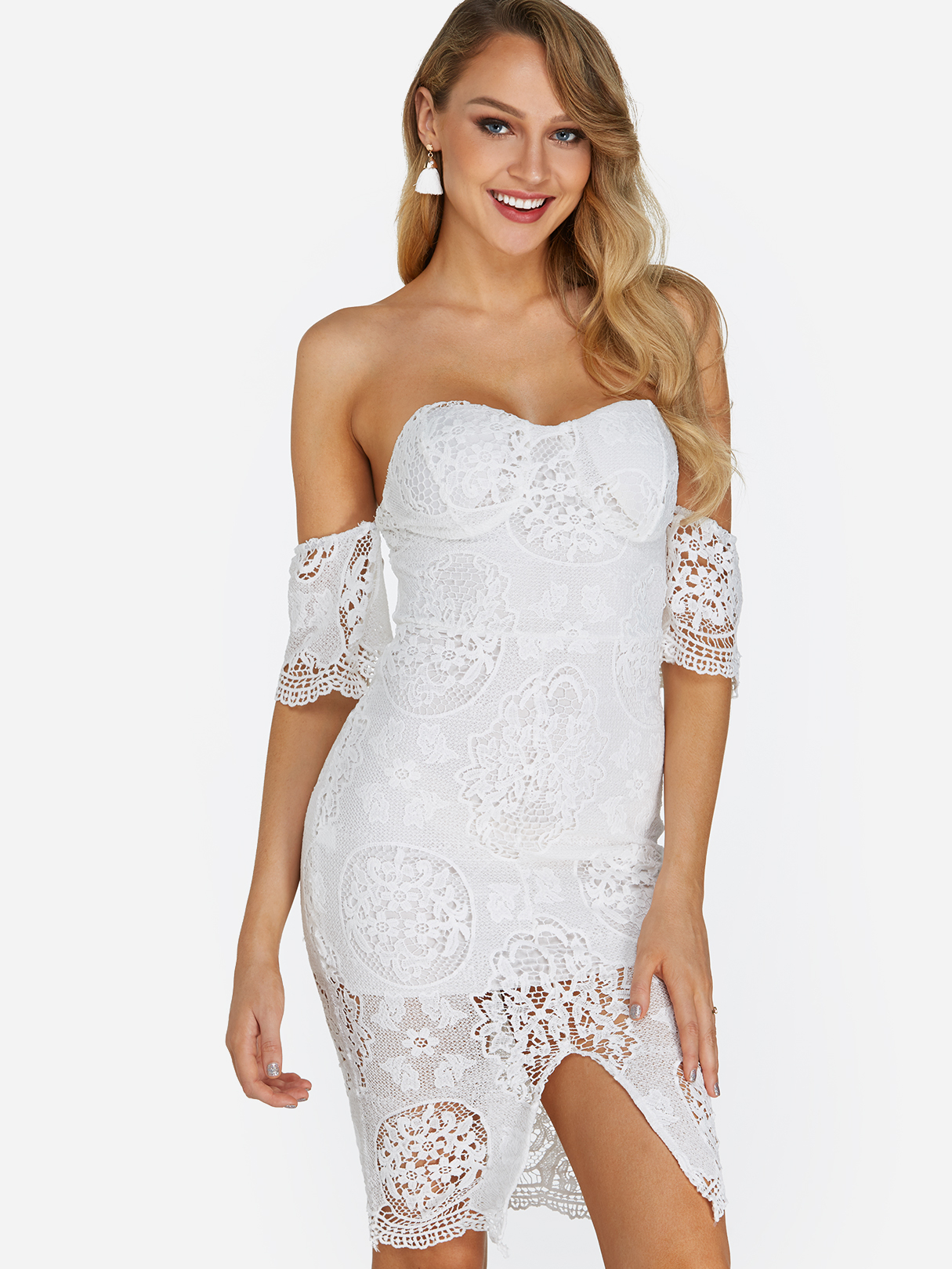 White Lace Details Backless Off The Shoulder Short Sleeves Slit Hem Dress