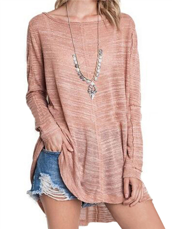 Light Pink Crew Neck Long Sleeves Sheer-through Blouse ws 2471 women s stylish cotton long sleeved long blouse grey