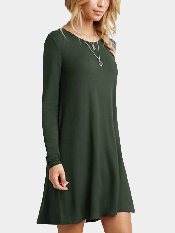 Army Green Oversized Round Neck Pleated Hem Mini Dress army green casual round neck ruffled dress