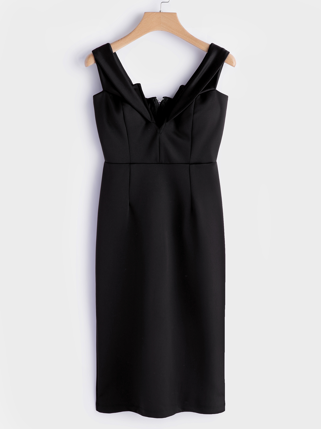 Black Backless Off Shoulder V-neck Midi Dress black zip design plain round neck flared sleeves midi dress