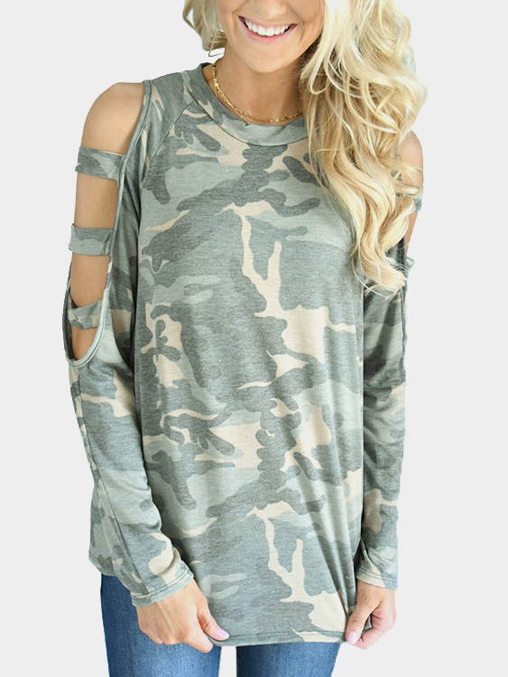 Green Cut Out Camouflage Round Neck Long Sleeves T-shirts цены