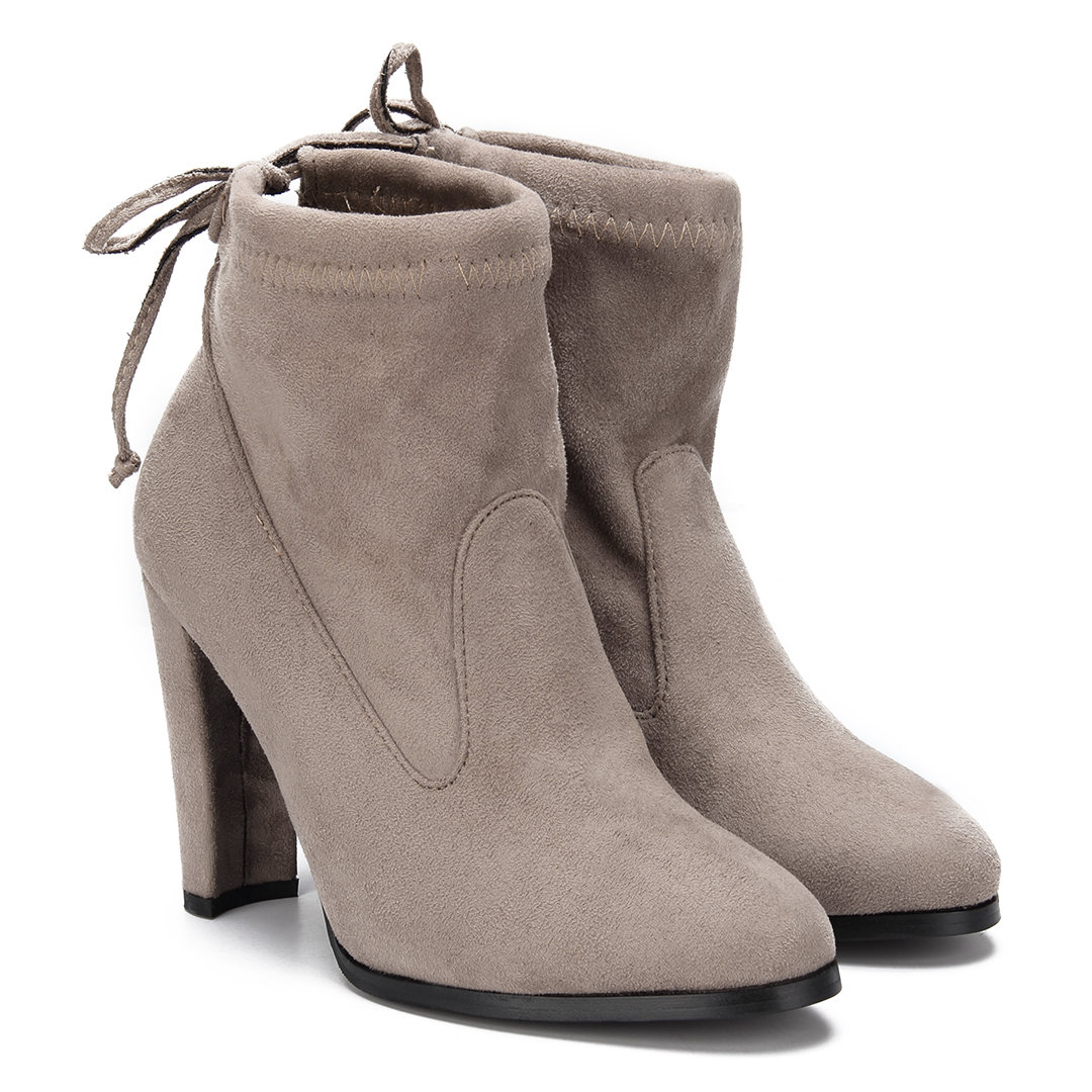 Suede Lace-up Heeled Ankle Boots in Khaki
