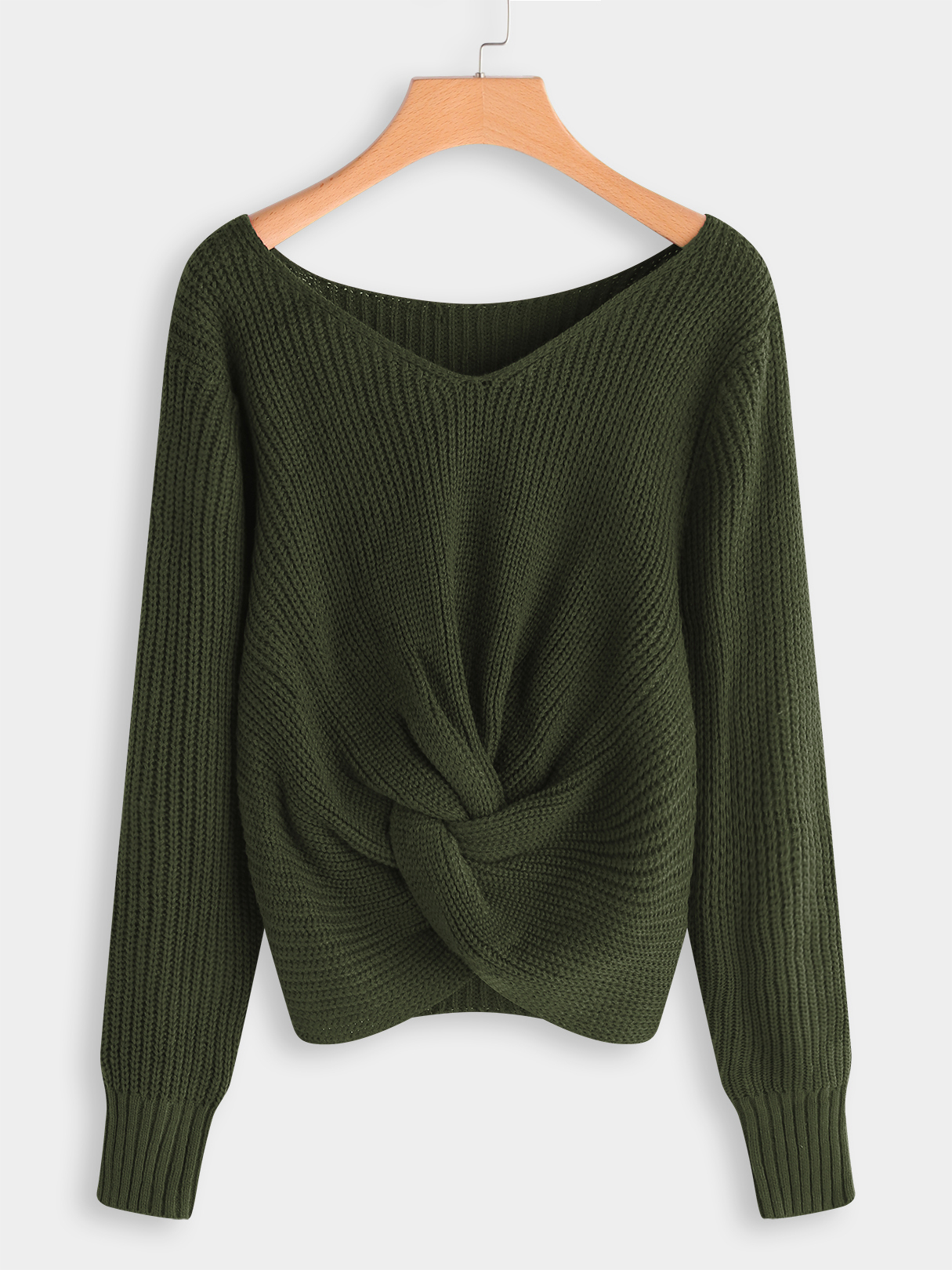 Army Green Plain V-neck Long Sleeves Knnotted Front Sweaters