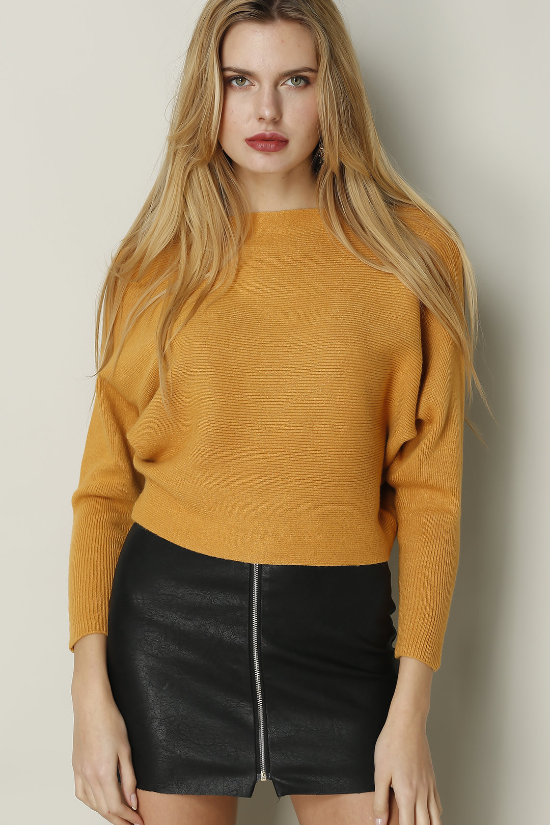 Yellow Sexy Pullover Bat Sleeves Loose Jumper