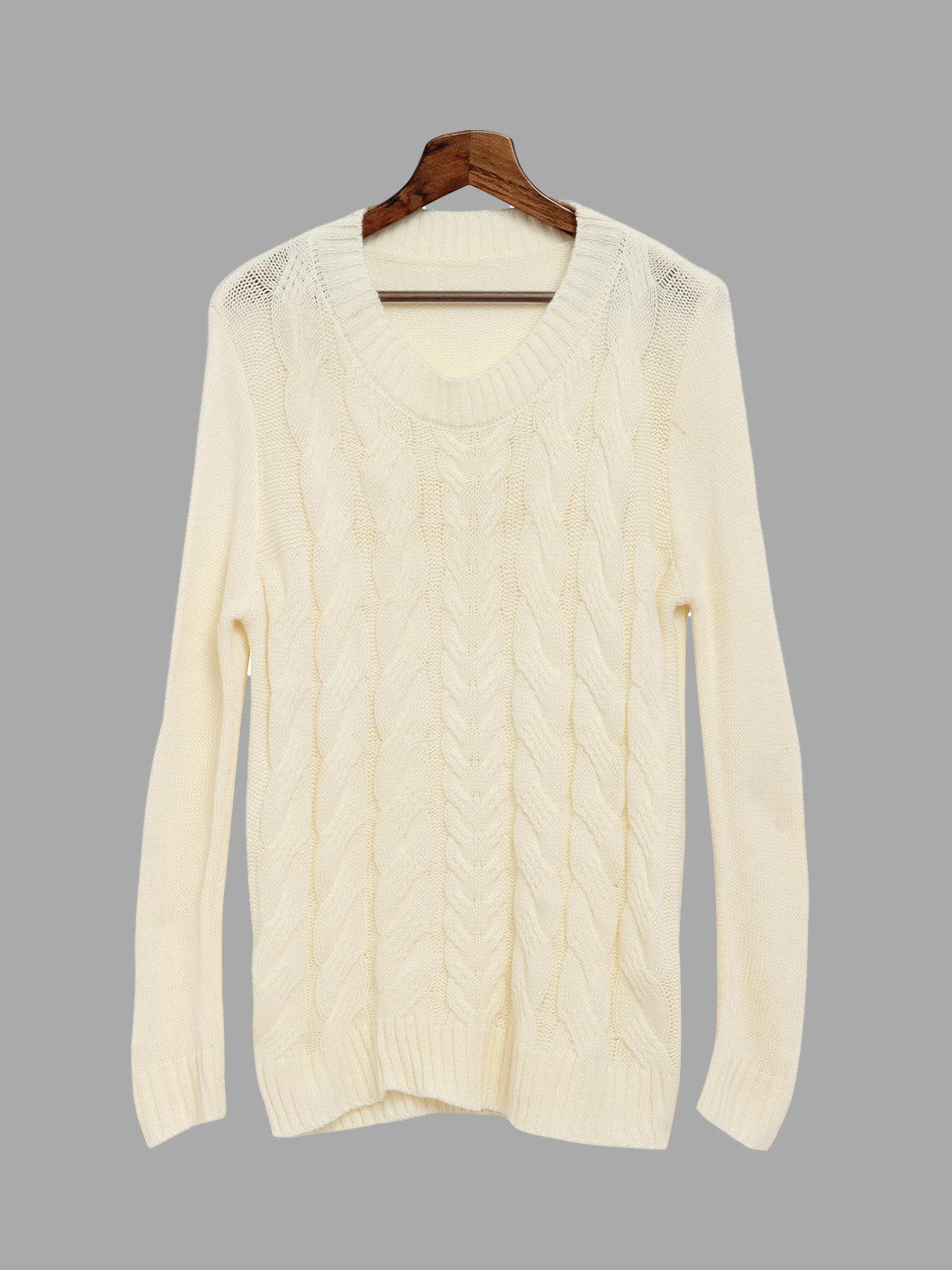 White Round Neck Loose Jumper