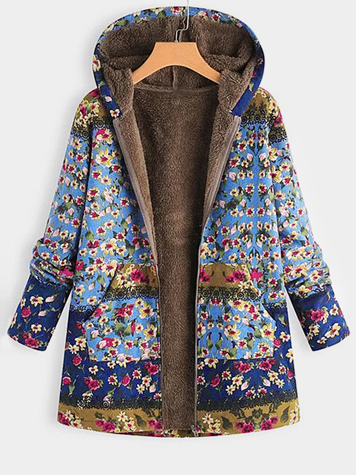 Plus Size Random Floral Print Hooded Design Pocket Coat