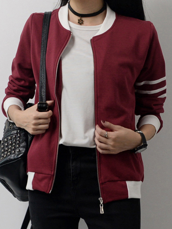 Burgundy Fashion Zip front Closure Side Pockets Jacket woman 2016fw woman fashion patch bomber jacket with faux fur collar warm qulited lining side pockets
