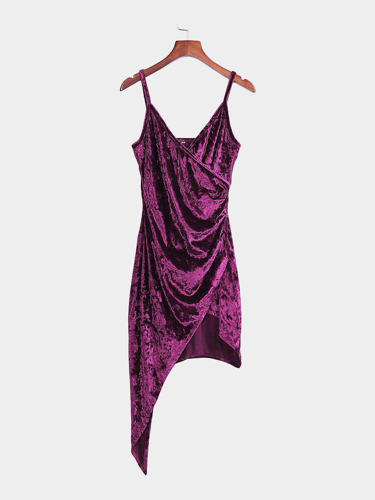 Purple Sexy V Neck Irregular Spaghetti Velvet Dress