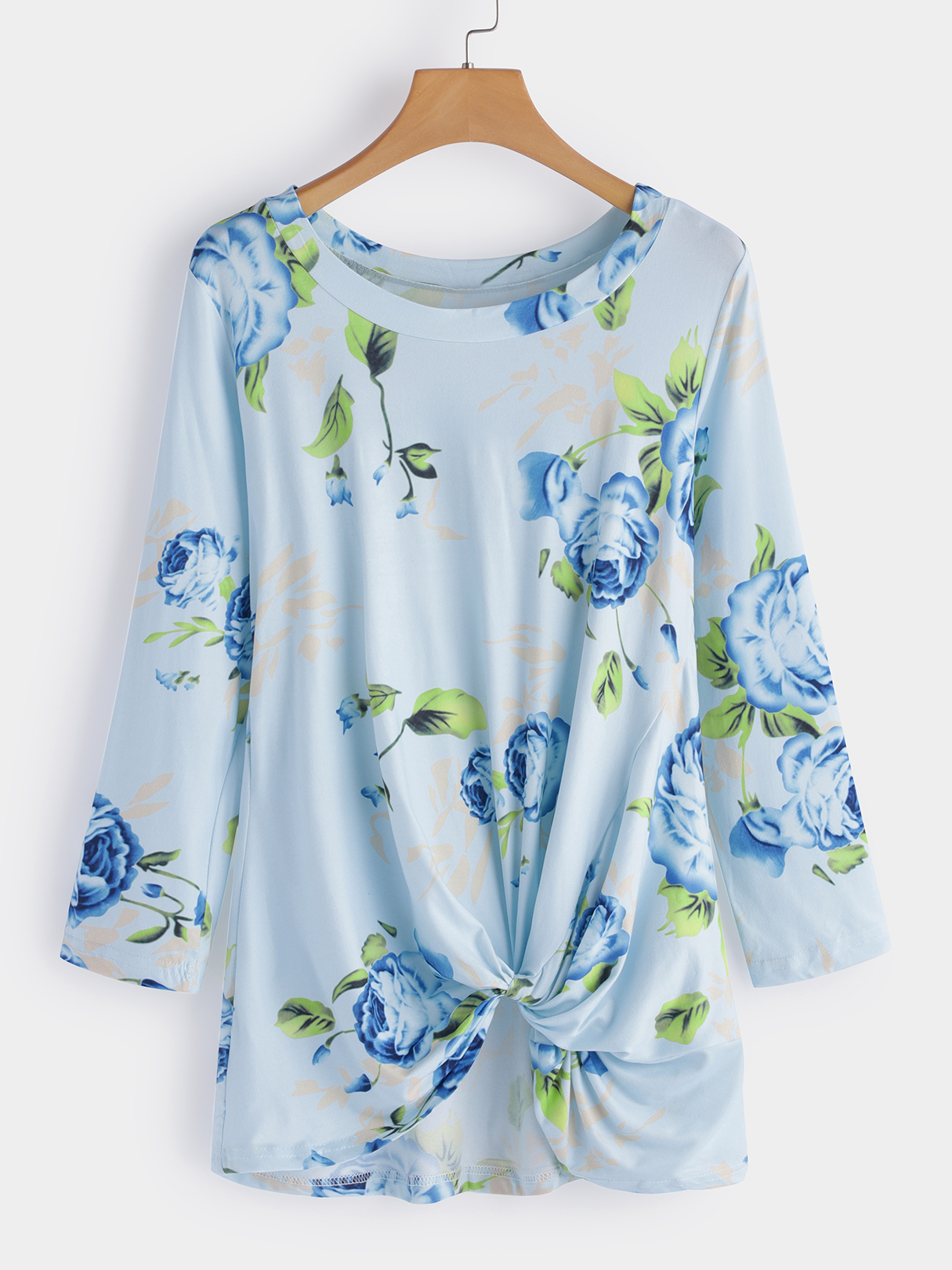 Blue Crossed Front Design Floral Print Round Neck Long Sleeves T-shirt цены онлайн