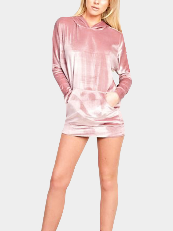 Pink Causal Velvet Long Sleeves Hooded Mini Dress