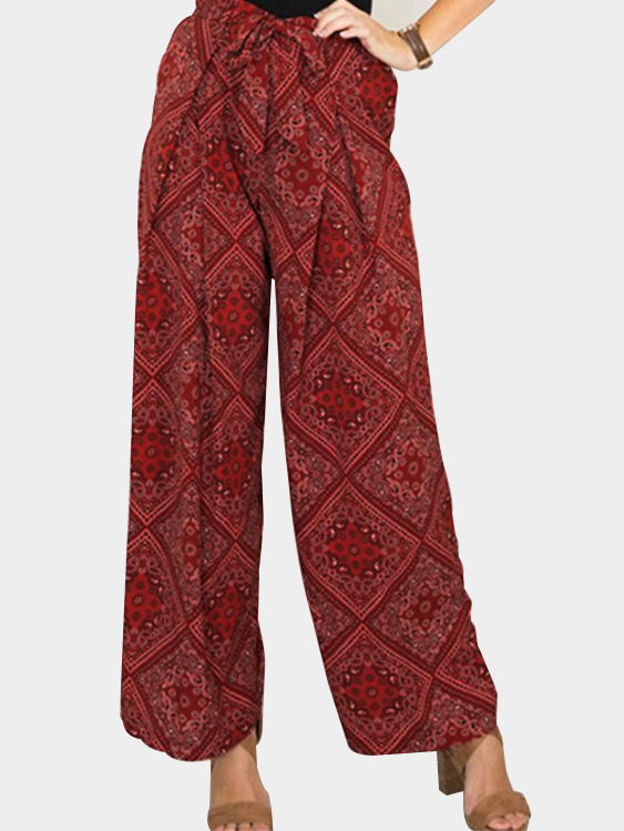 Burgundy Grid Pattern Straight Leg Pants tropical print palazzo leg pants