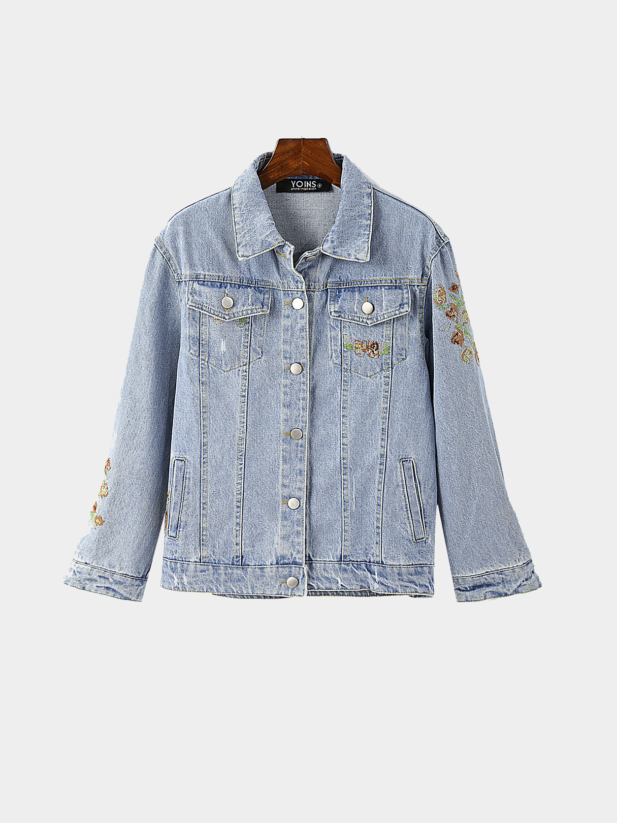 Blue Embroidery Pattern Denim Jacket with Side Pockets