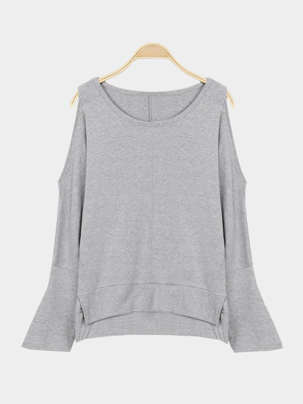 Grey Cold Shoulder Plain Color Blouse alexander mishkin how to stay young it