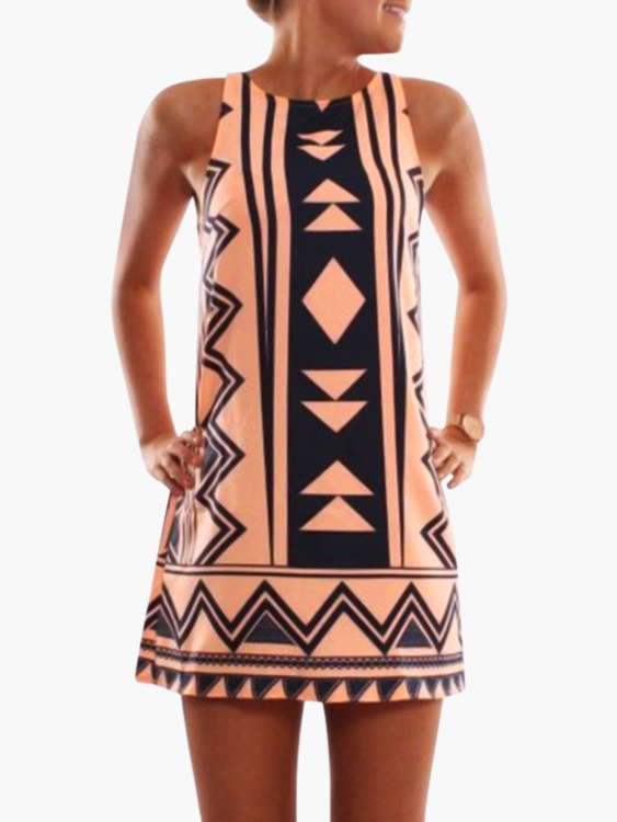 Orange Geometrical Printed Crew Neck Sleeveless Dresss geometrical pattern cape loose sweater with taeesl details