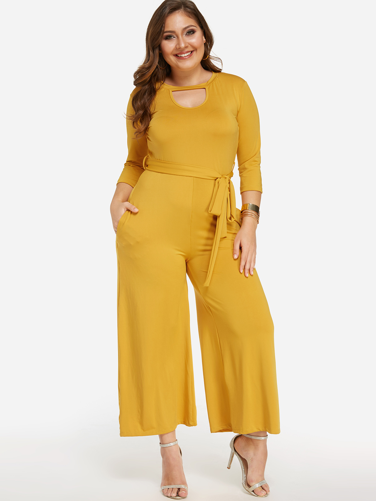 Yellow Keyhole Design Lace-up Long Sleeves Jumpsuits blue lace up design cold shoulder long sleeves jumpsuits