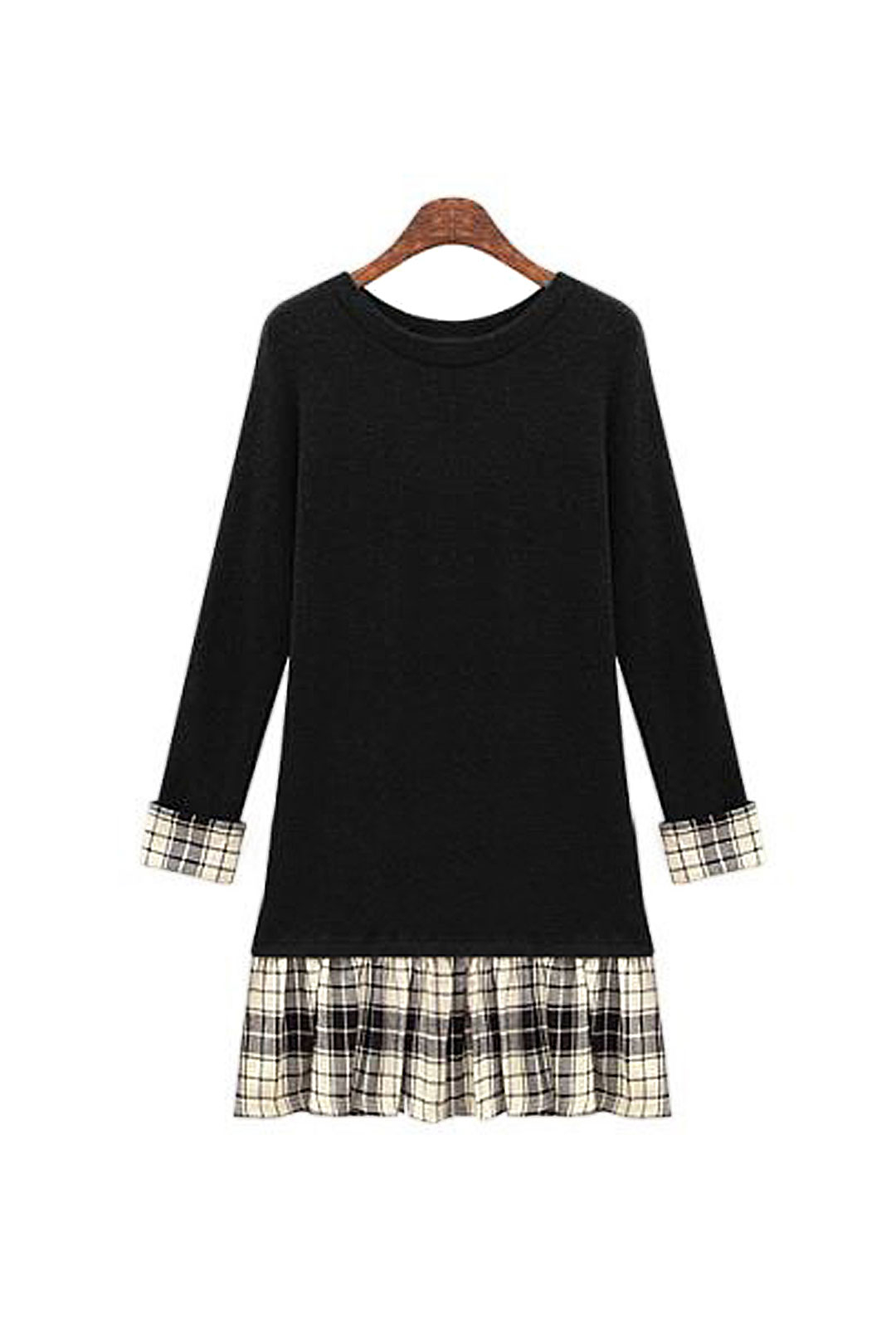 Plus Szie Long Sleeves Dress with Check Hem