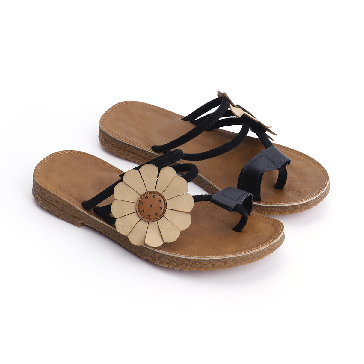 Black Boho Style Flower Decoration Slippers floral decoration vocation sandals in pink