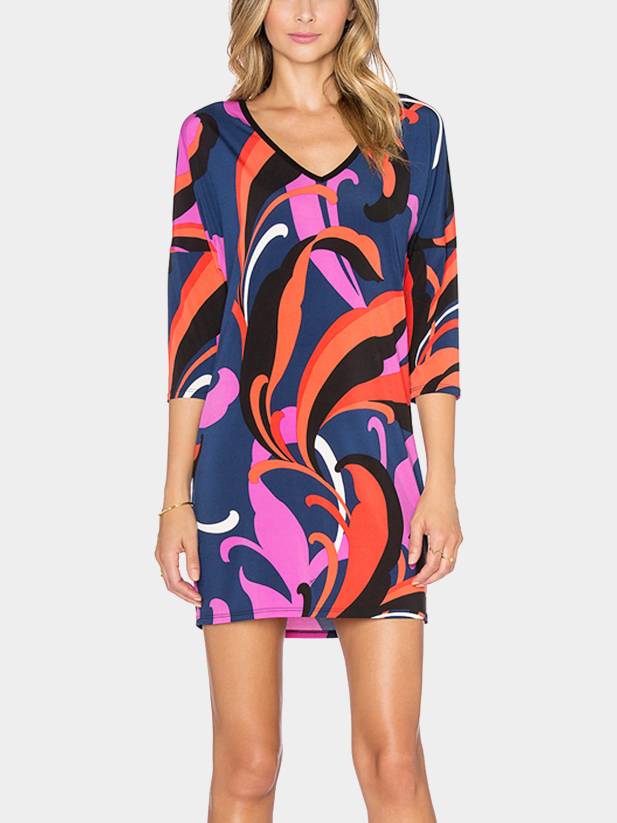 Colorful Abstract Print V-neck Dress