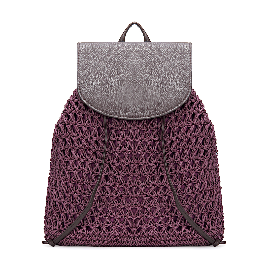 Purple Straw-Woven Lined Beach Backpack with Flap Top and Drawstring