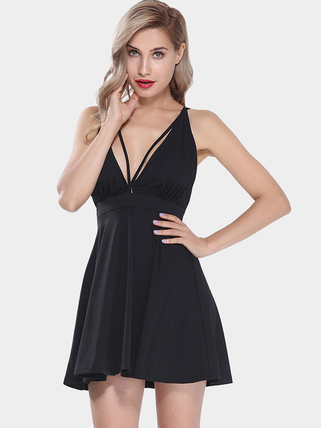 Cross Strap Dress with Plunging Neck