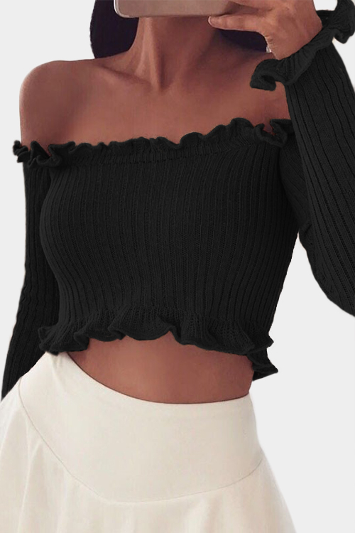 Black Off The Shoulder Long Sleeves Crop Top
