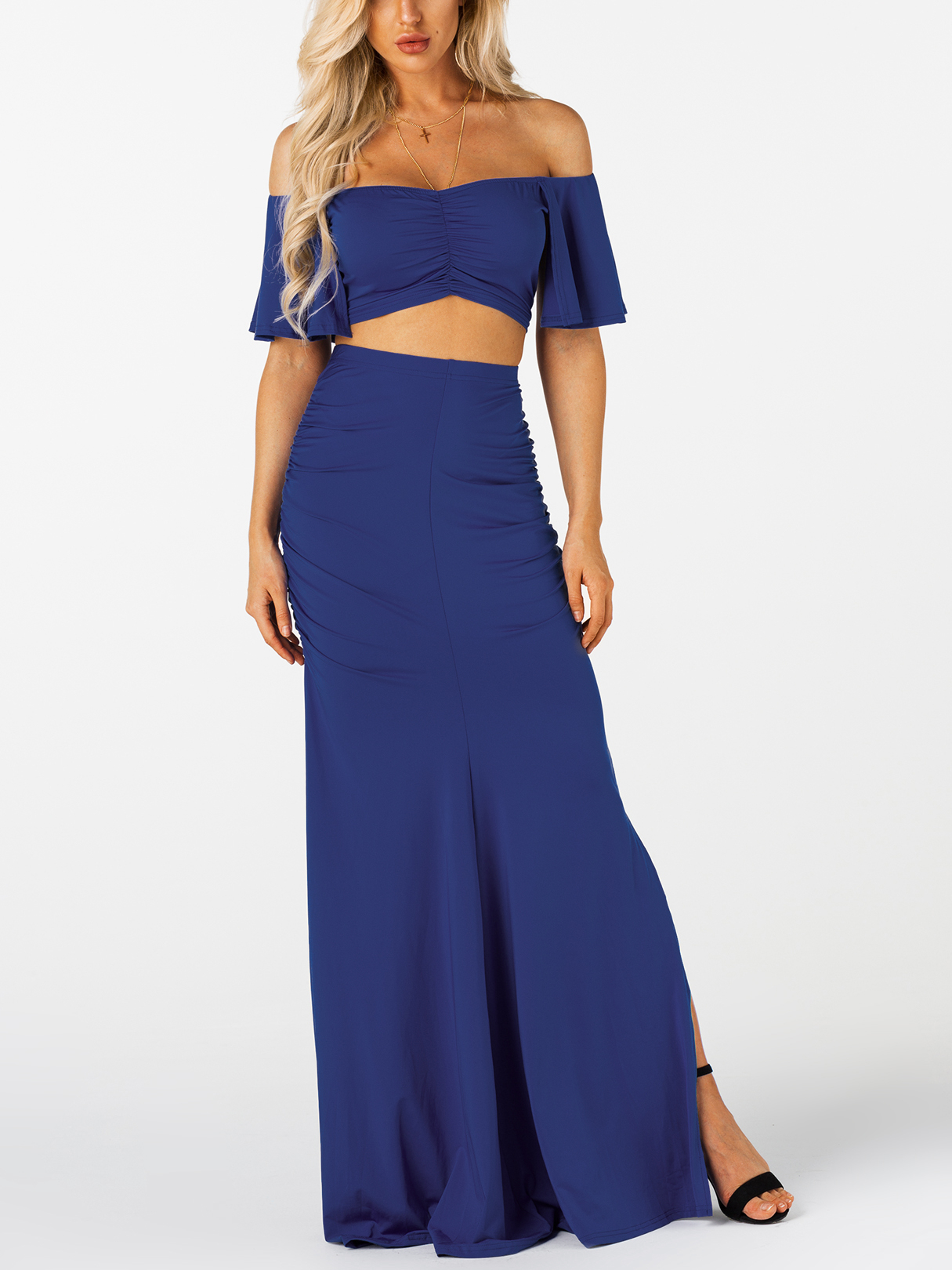 Royal Blue Ruched Bodycon Sexy Two Piece Outfits white ruched bodycon sexy two piece outfits